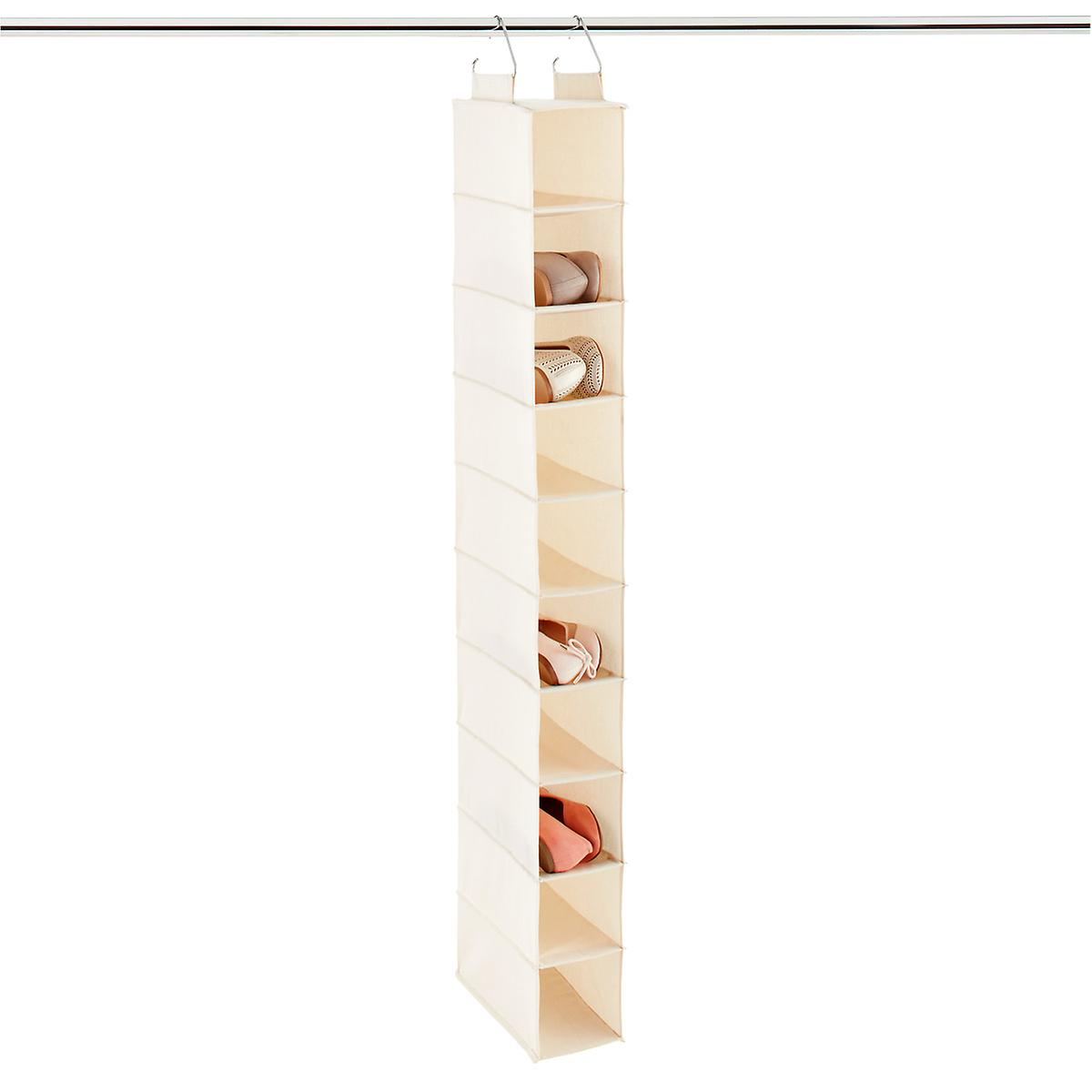 10 Compartment Natural Canvas Hanging Shoe Organizer The