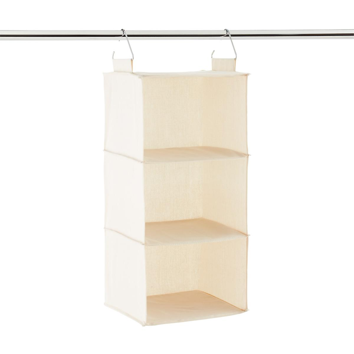 3 Compartment Natural Canvas Hanging Sweater Organizer The