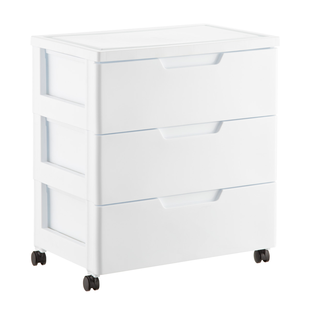 Iris White 3 Drawer Premium Plastic Storage Chest With Wheels ...