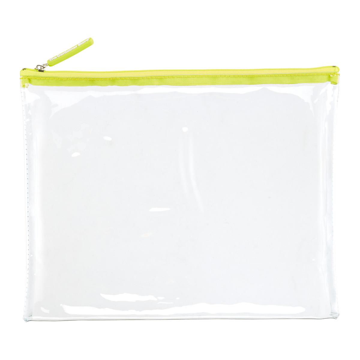 Large Green Zippered Clear Pouch The Container Store