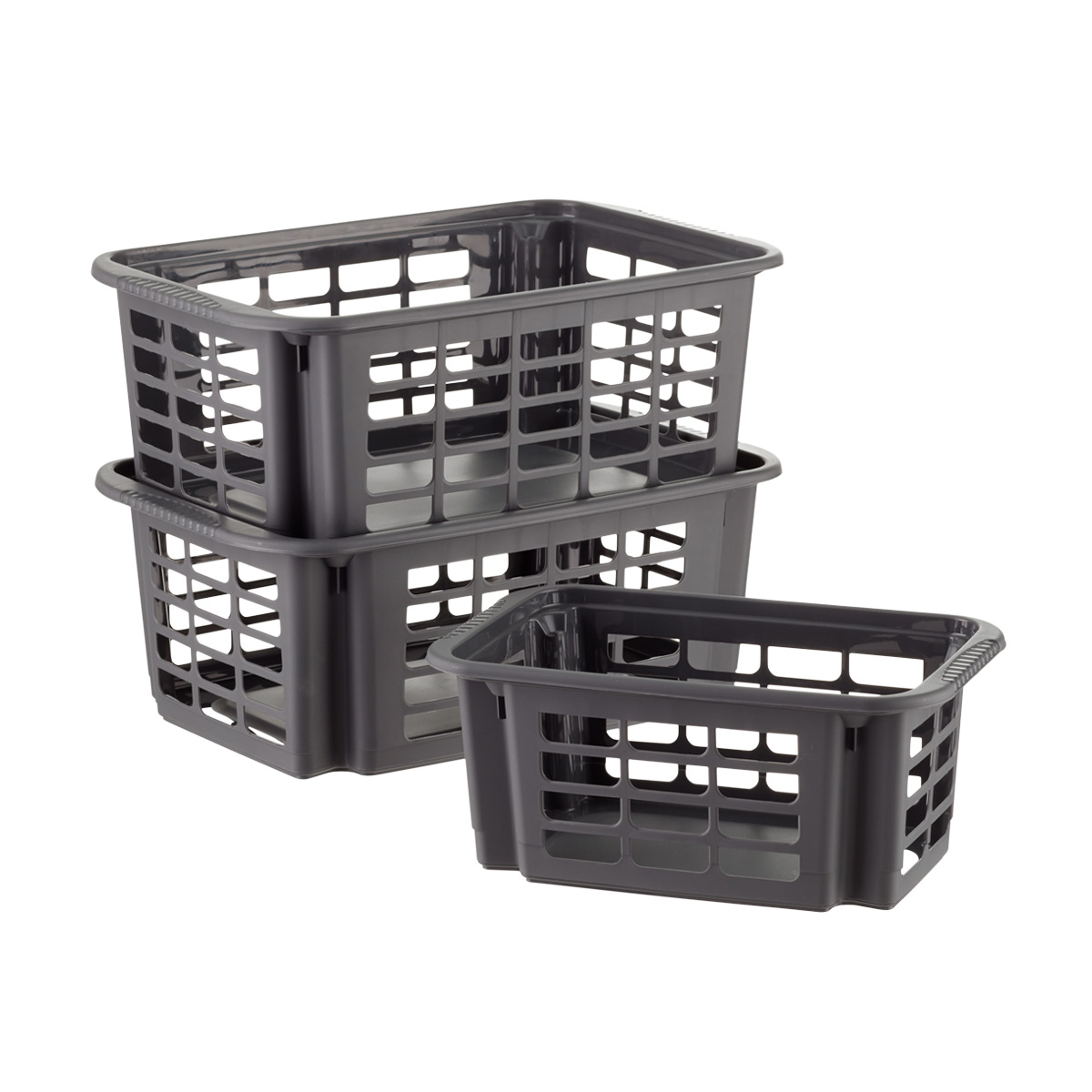 Incroyable Graphite Stackable Plastic Storage Baskets ...