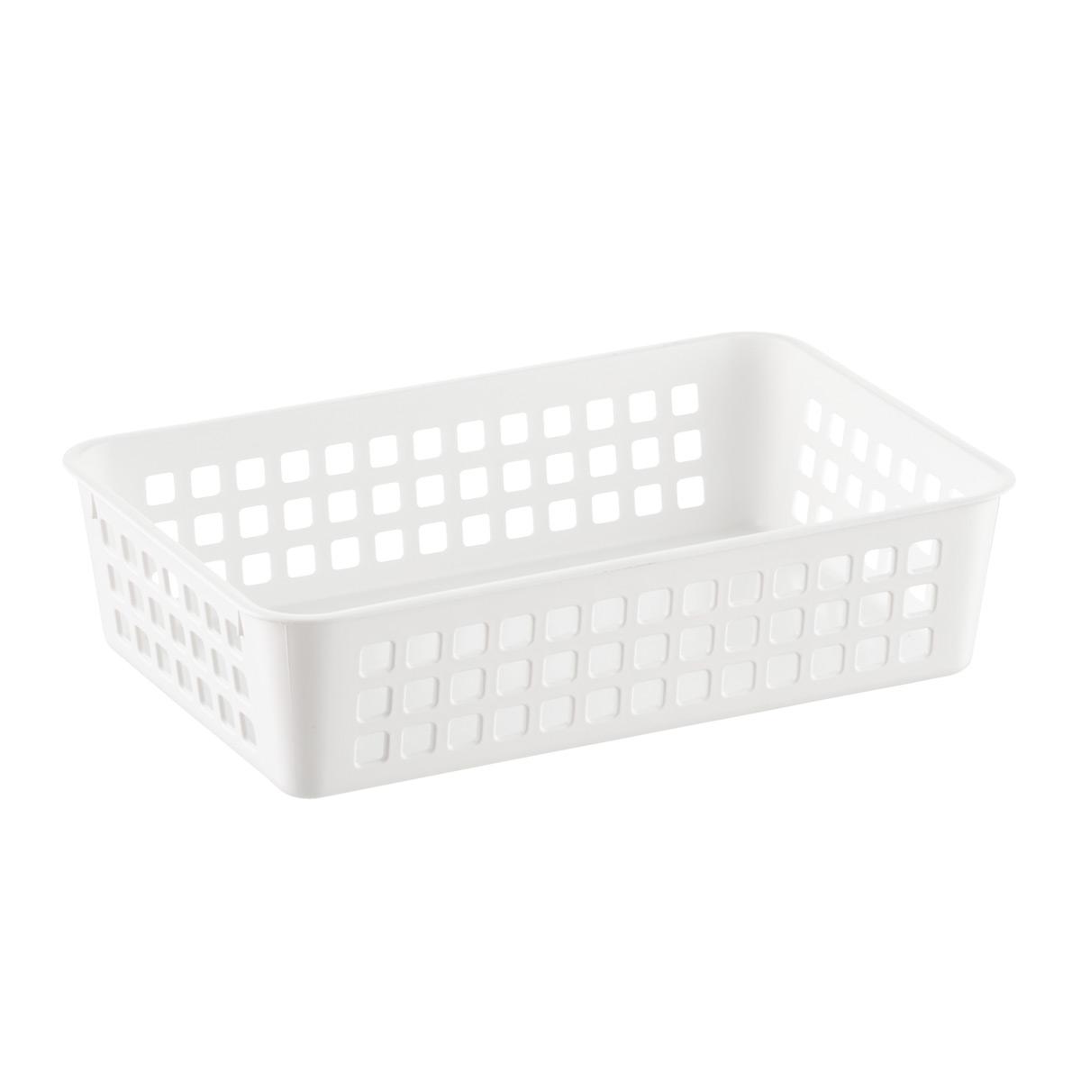 White Multipurpose Plastic Storage Baskets