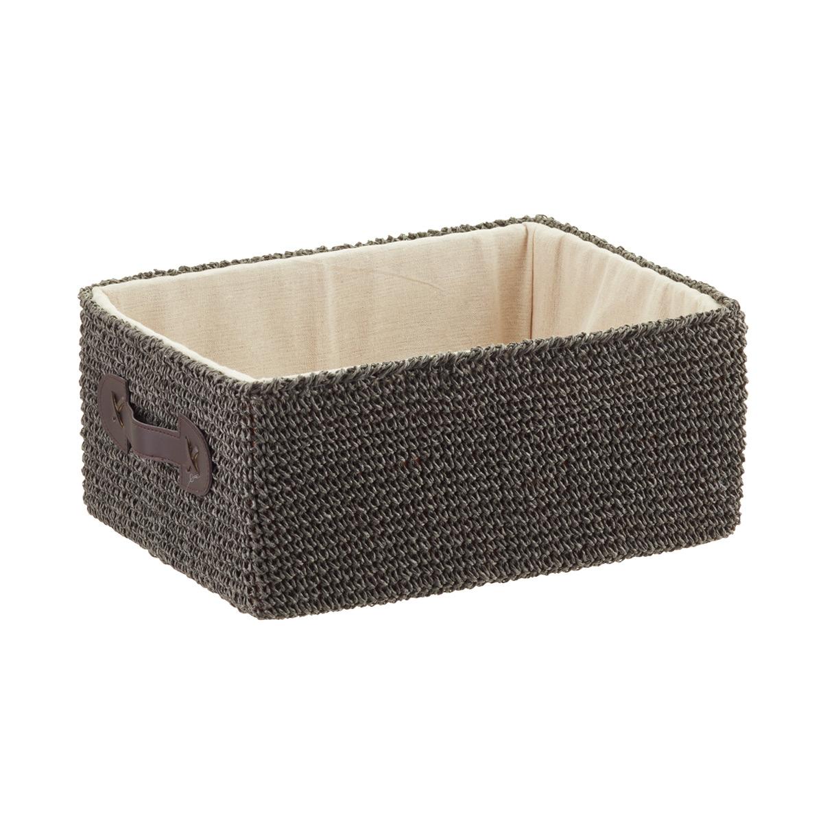 Grey Crochet Rectangular Storage Bins With Handles; U0026; U0026. Roll Over To Zoom