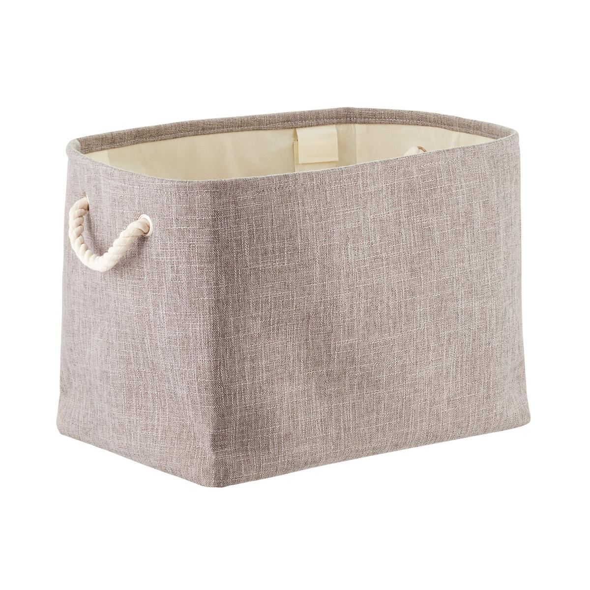 small washed brown rectangle basket with handles hobby.htm grey fabric storage bin with rope handles the container store  grey fabric storage bin with rope