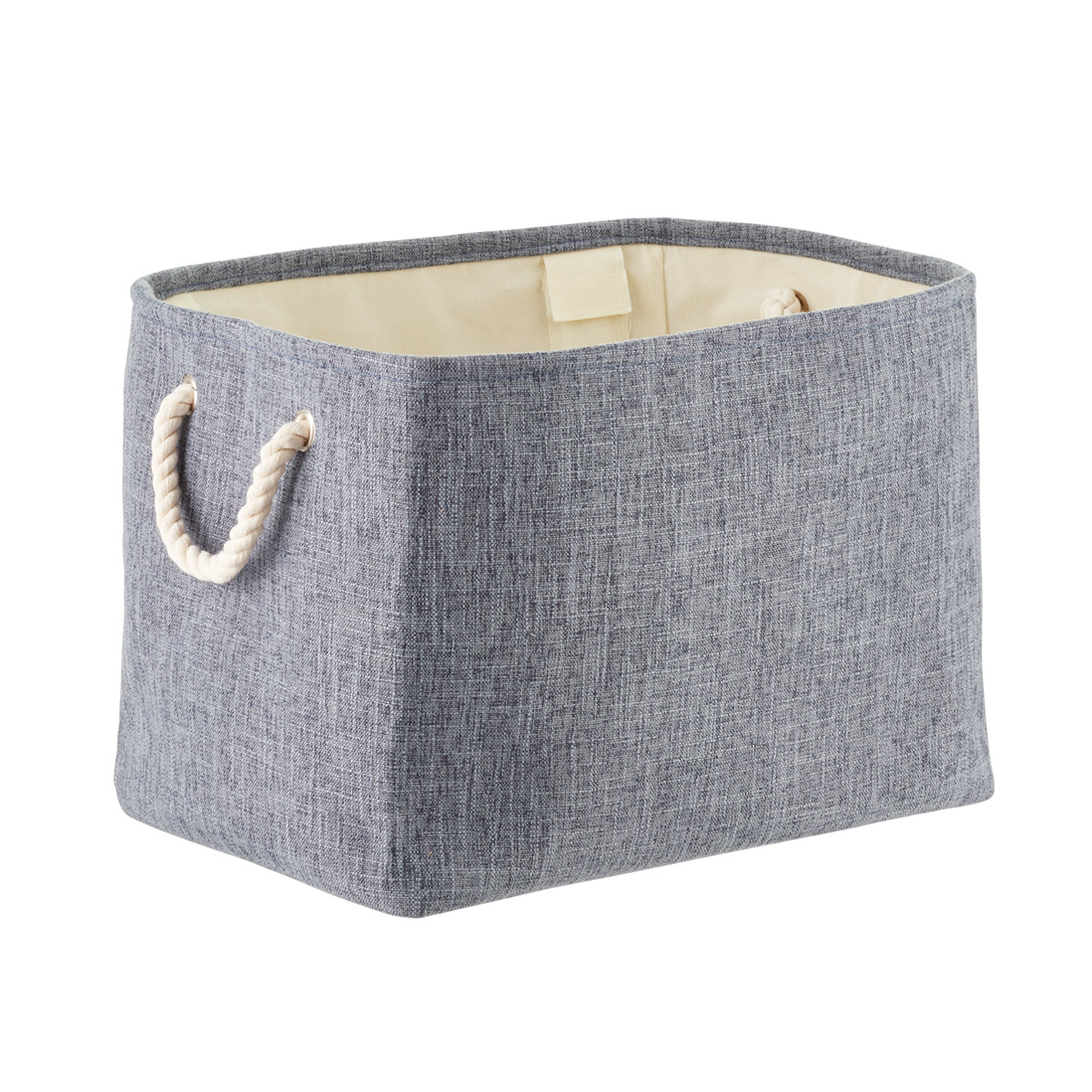 Navy Fabric Storage Bin With Rope Handles The Container Store