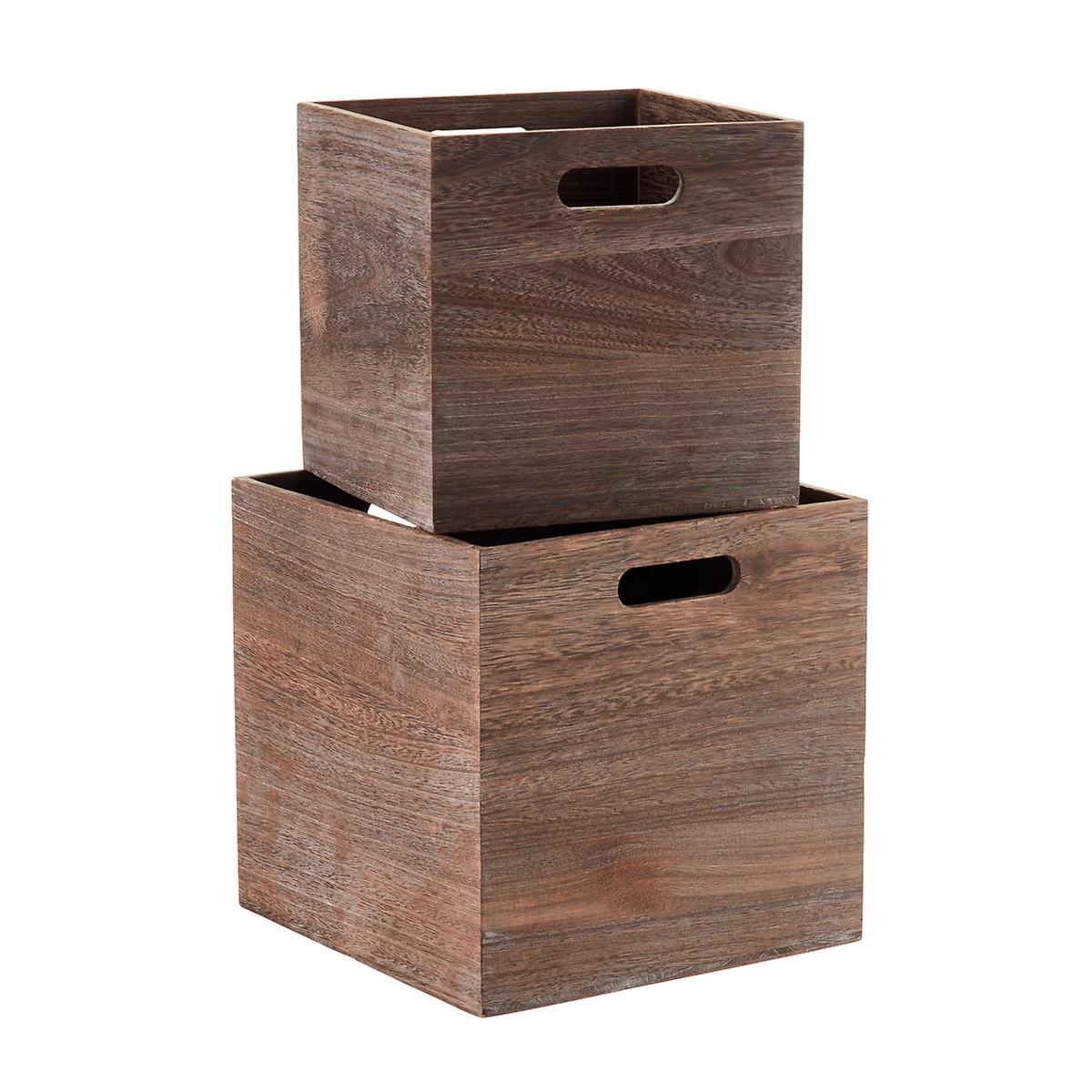 Famous Feathergrain Wooden Storage Cubes with Handles | The Container Store SP02