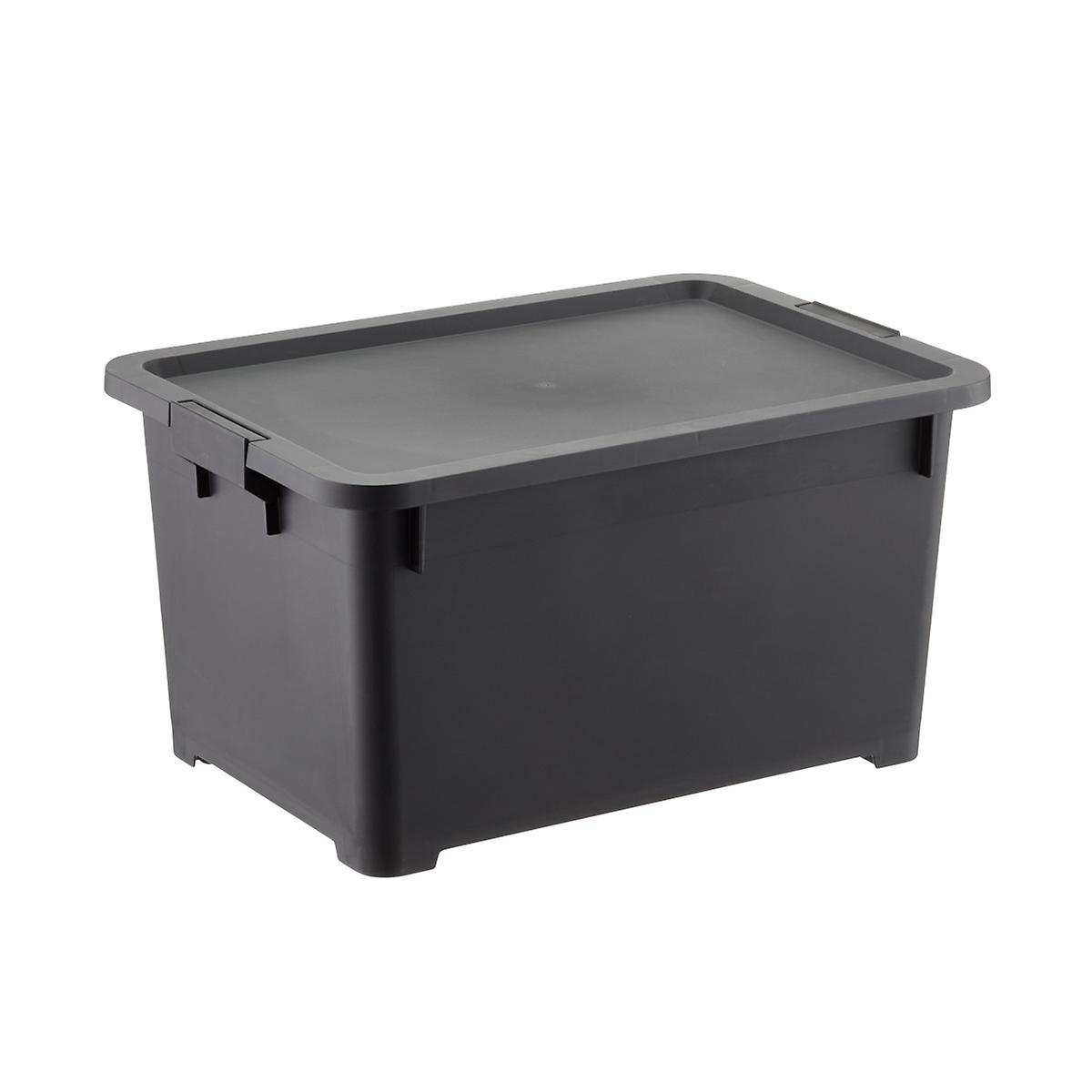 black storage container with lid