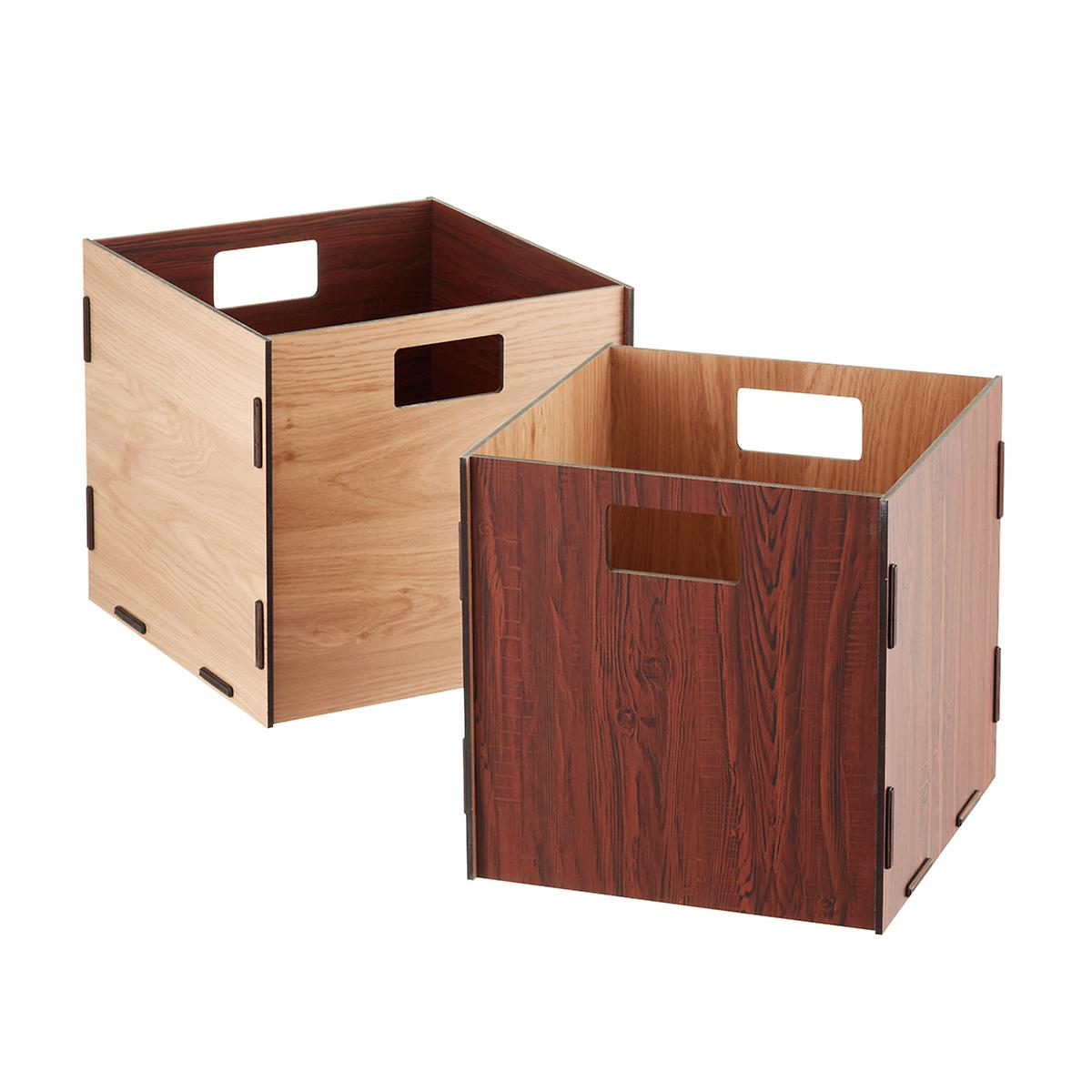 Natural Cherry Reversible Wooden Storage Cube With Handles