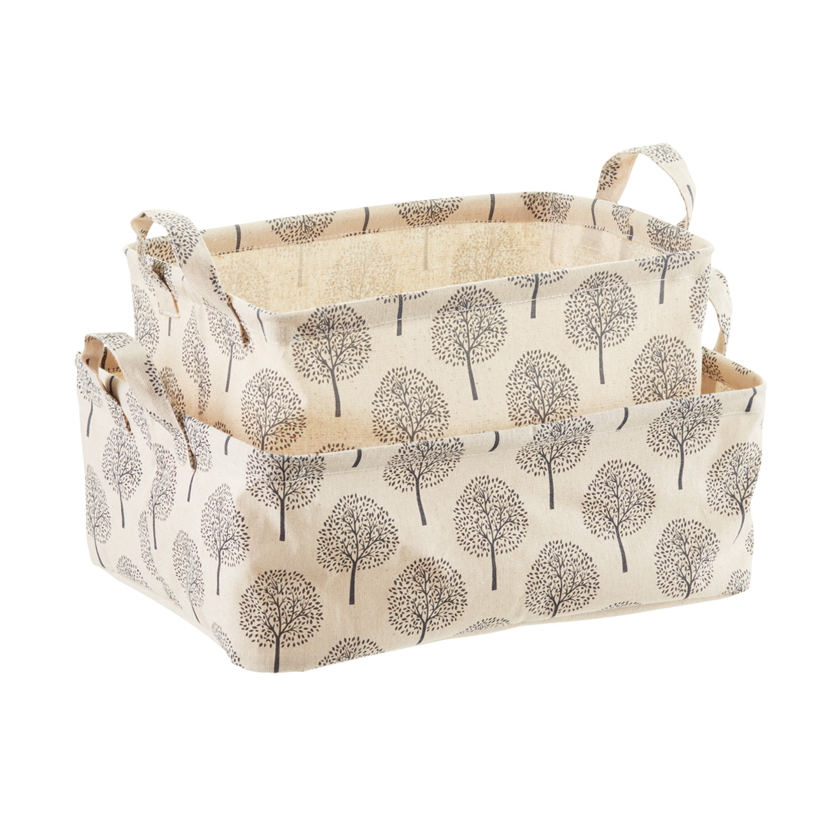 Natural Tree Print Fabric Storage Bins With Handles ...