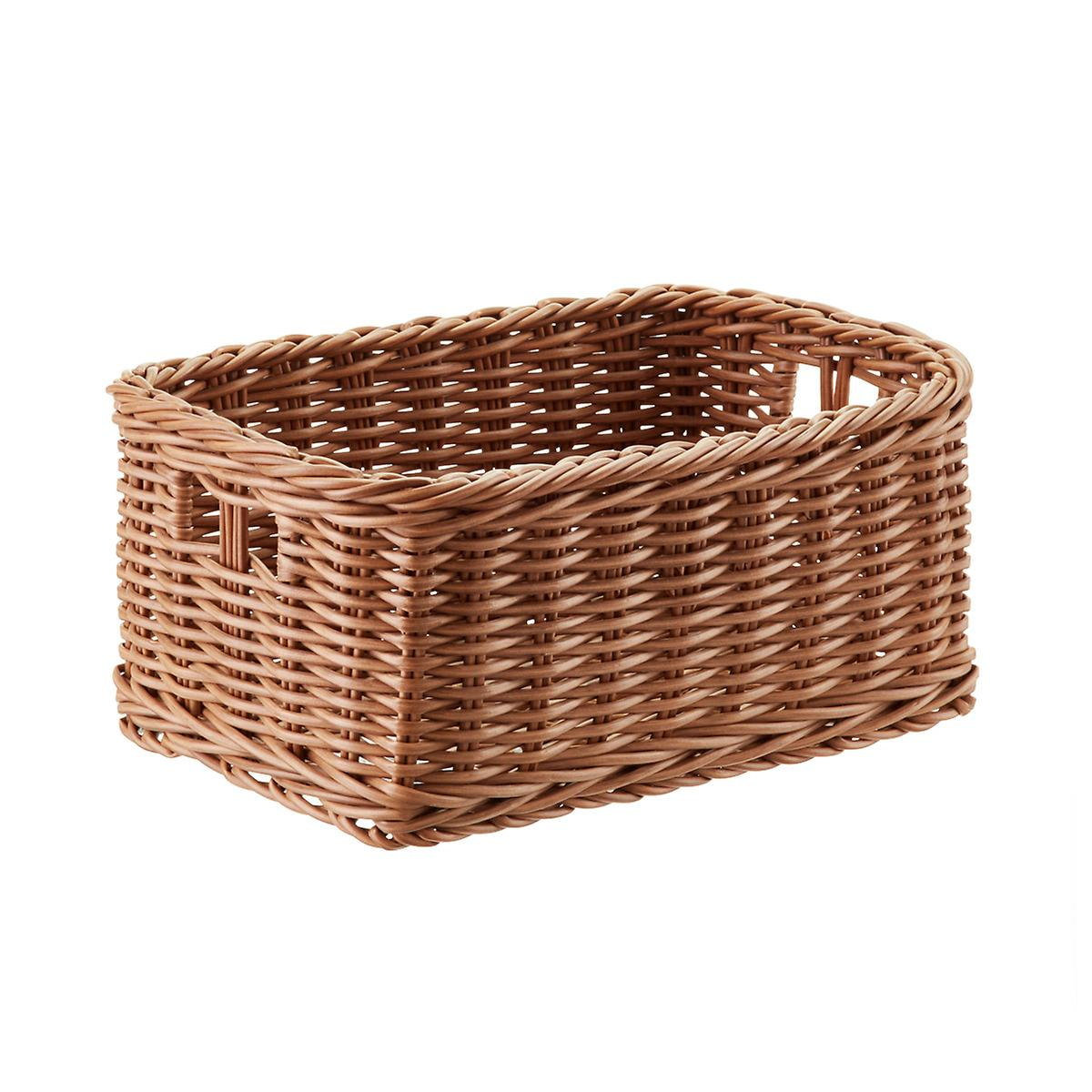 Plastic Wicker Storage Bin with Handles | The Container Store