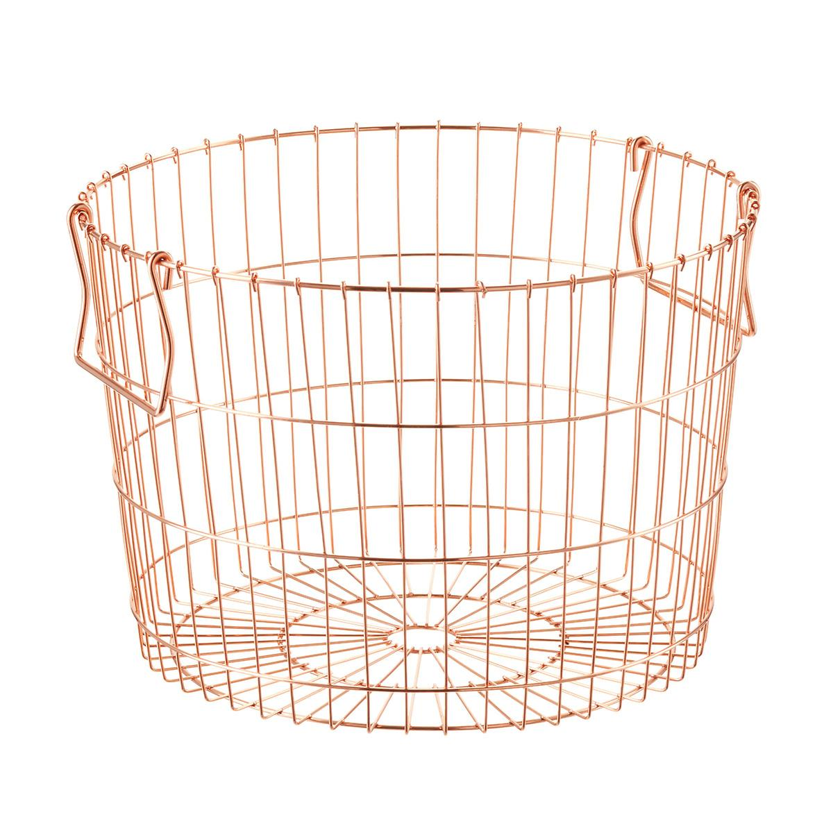 DII Farmhouse Vintage Food Safe Metal Chicken Wire Storage Baskets with Removable Fabric Liner for Home Décor or Kitchen Use, Set of 2, Natural.