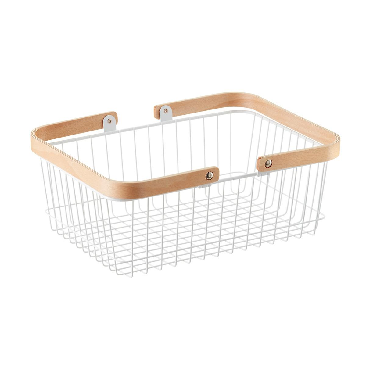 White Wire Basket with Wooden Handles | The Container Store