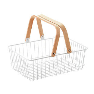 sc 1 st  The Container Store & White Wire Basket with Wooden Handles | The Container Store