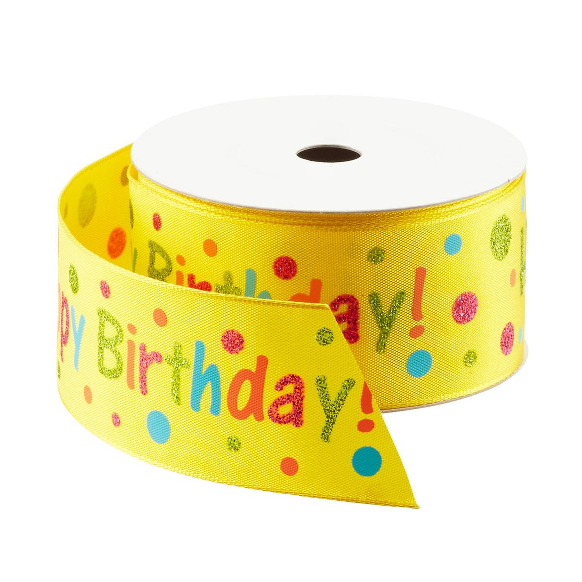 Yellow Happy Birthday Wired Ribbon | The Container Store