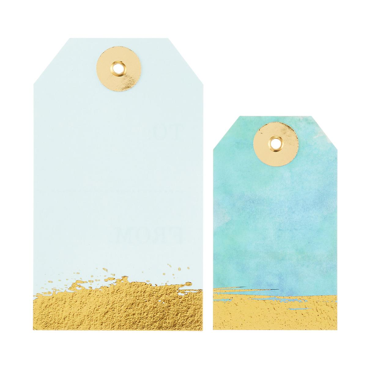 aqua gold watercolor gift tags the container store