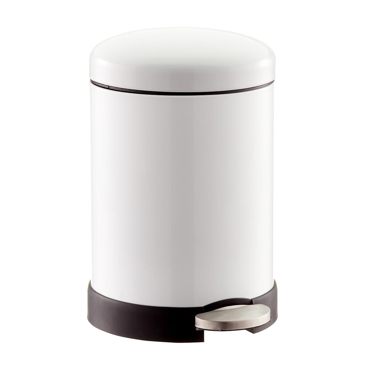 White 1 3 Gal Glossy Round Retro Step Trash Can