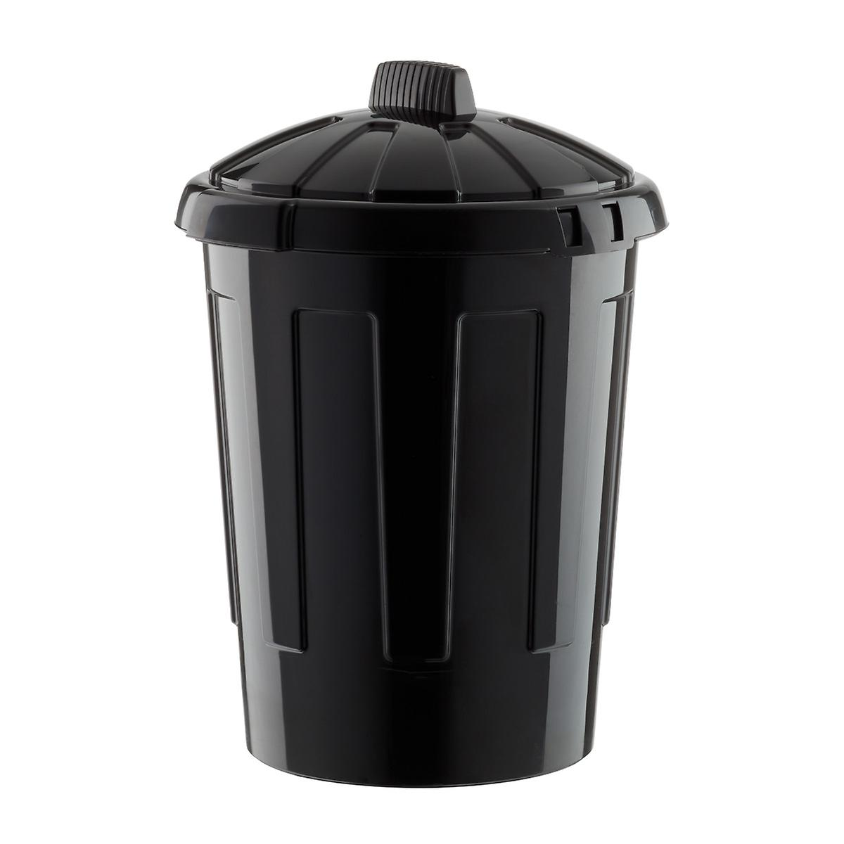 Black 21 Gal 80l Round Plastic Trash Can The Container Store