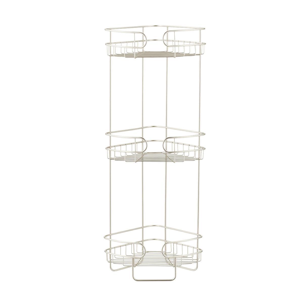satin nickel 3 tier corner bathroom shelf the container. Black Bedroom Furniture Sets. Home Design Ideas