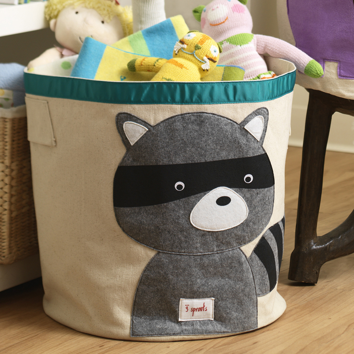 Elegant 3 Sprouts Raccoon Canvas Toy Storage Bin ...