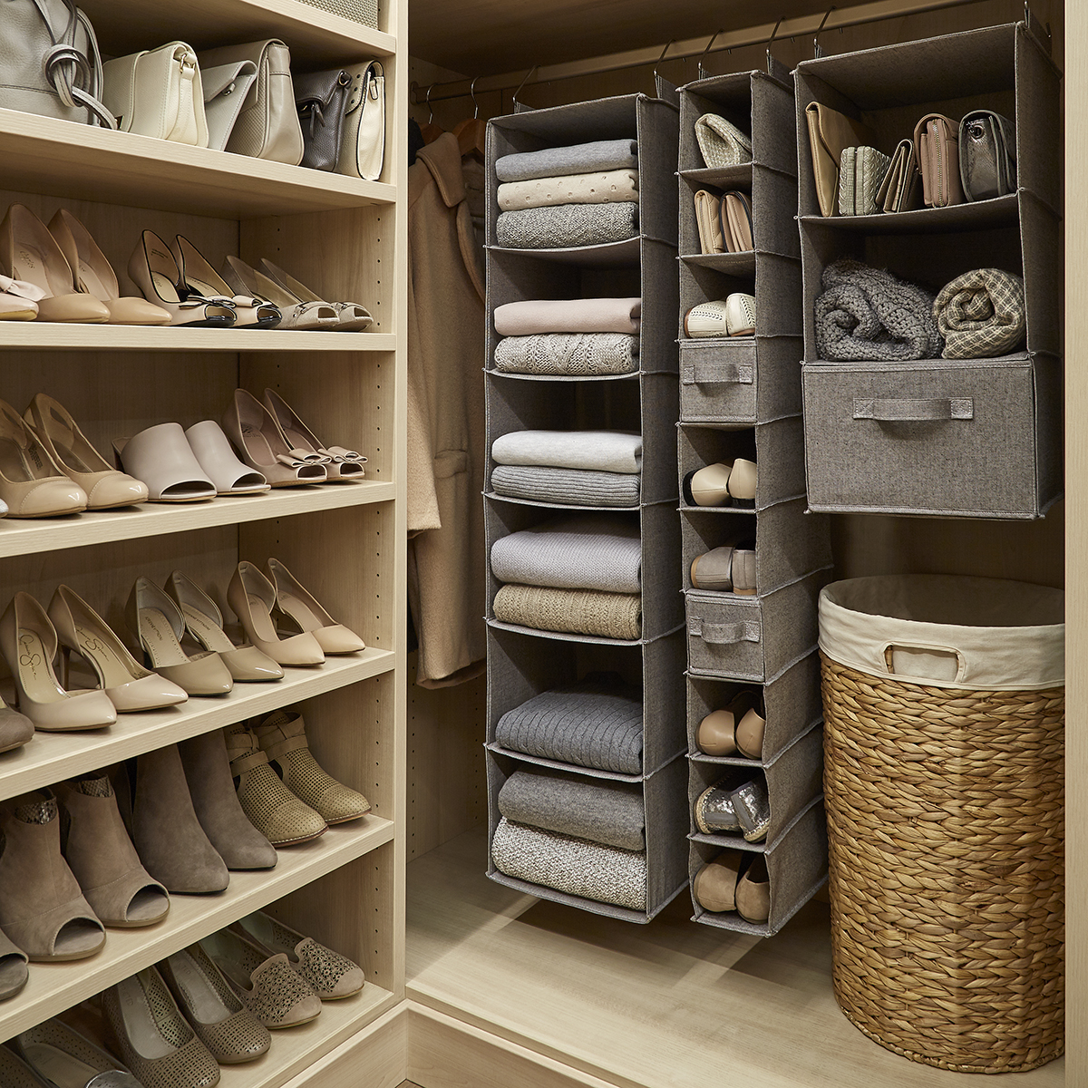 Grey 10 Compartment Hanging Shoe Organizer Drawer The Container Store