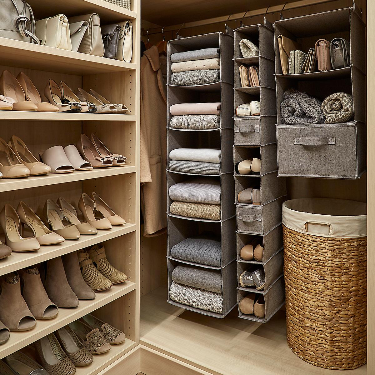 Grey 10-Compartment Hanging Shoe Organizer