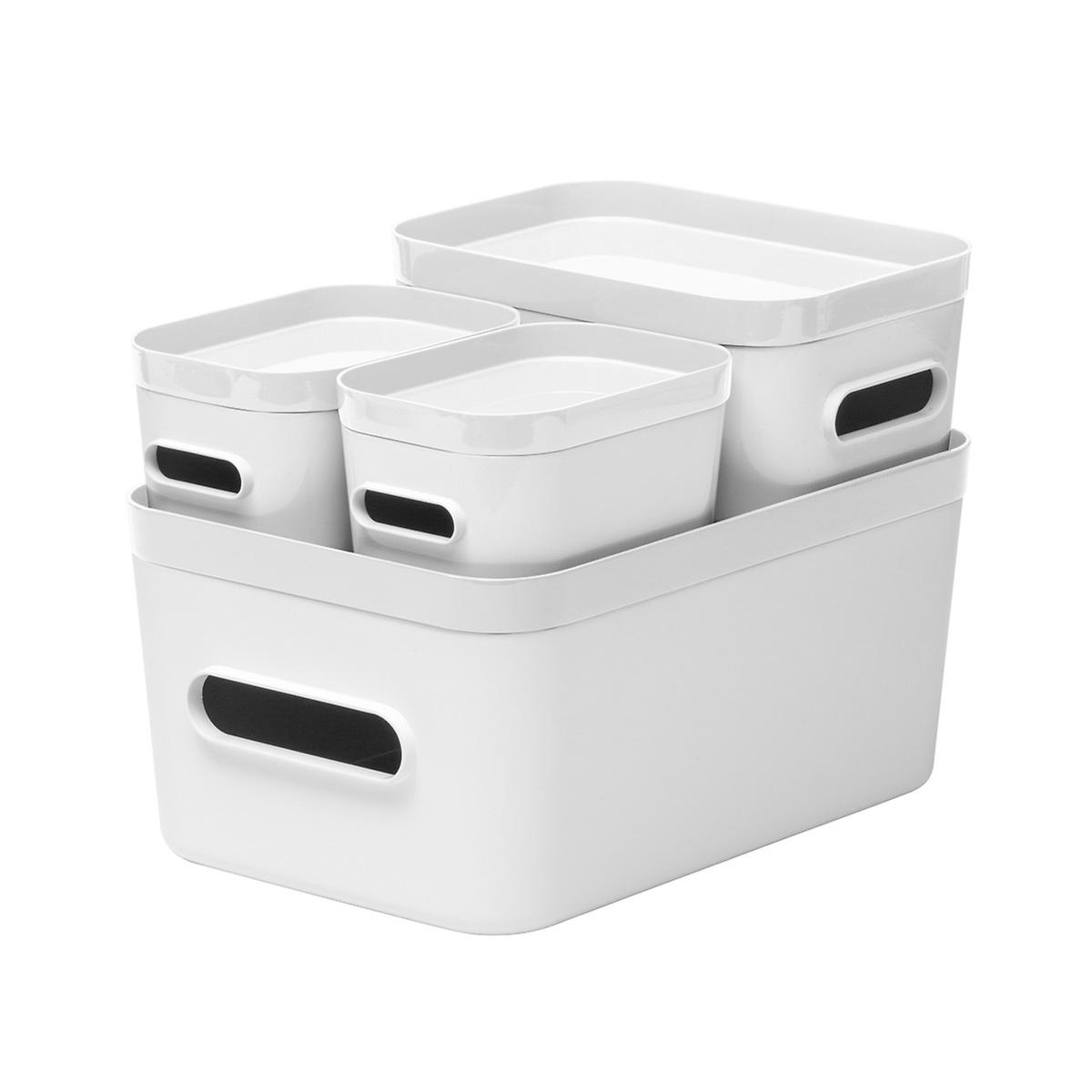 white compact plastic bins 4 pack with white lids the container store. Black Bedroom Furniture Sets. Home Design Ideas