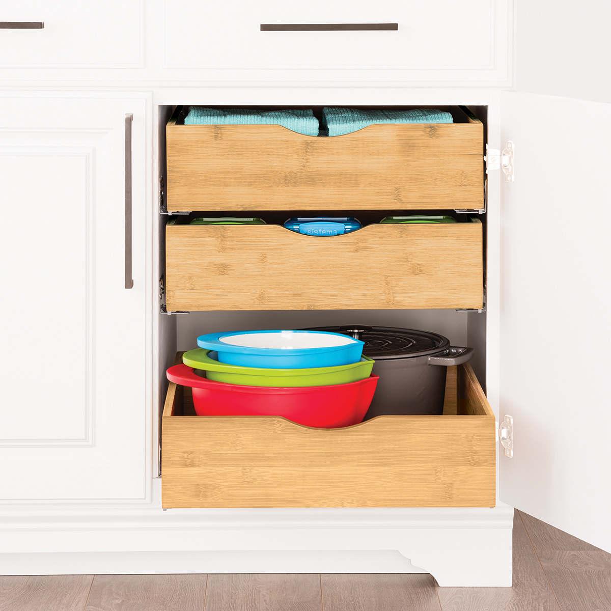 cabinet drawers bamboo pull out cabinet drawers the container store rh containerstore com cabinet pull out shelves costco closet pull out shelving free standing wire