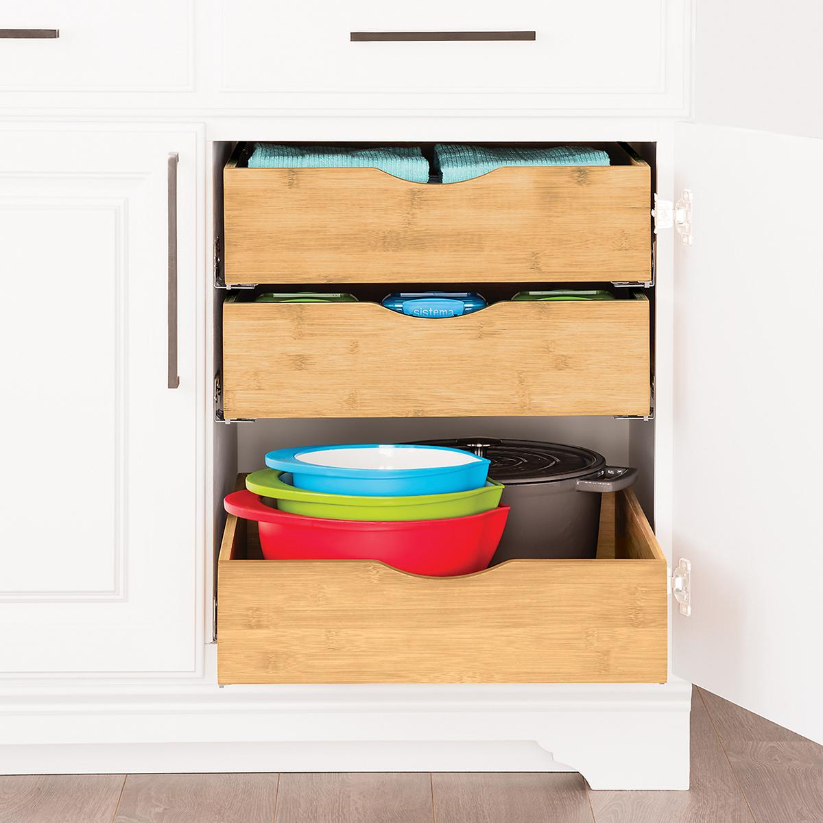 pull out cabinet organizer CabiDrawers   Bamboo Pull Out CabiDrawers | The Container  pull out cabinet organizer