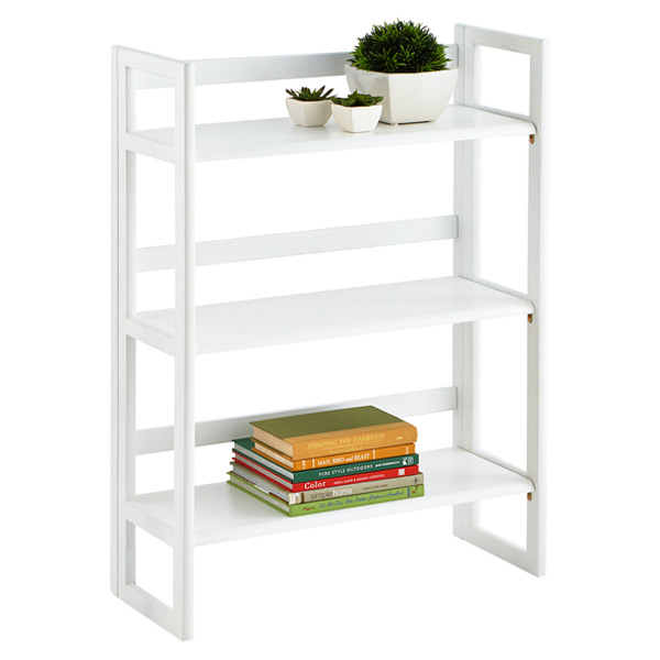 White Solid Wood Stackable Folding Bookcase