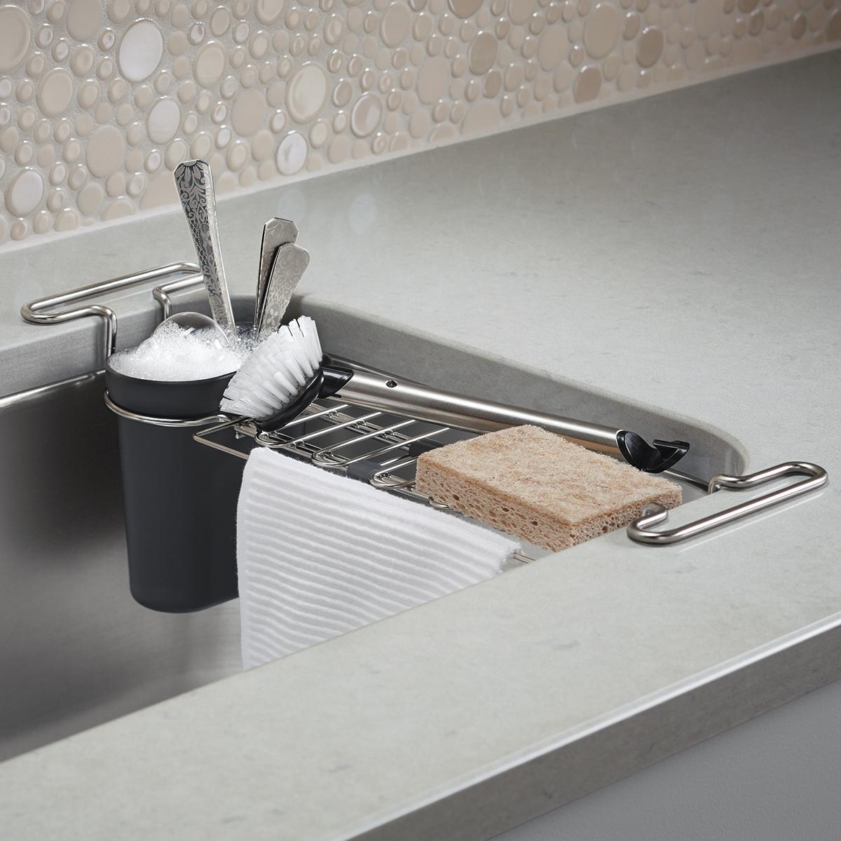 kohler chrome kitchen sink utility rack the container store rh containerstore com chrome kitchen sink soap dispenser chrome kitchen sink taps