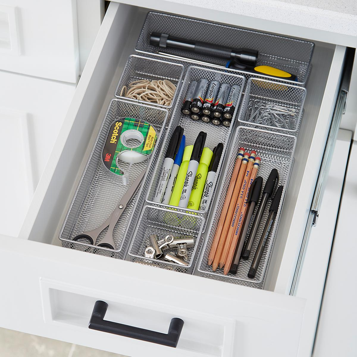 Silver Mesh Drawer Organizers Starter Kit The Container Store