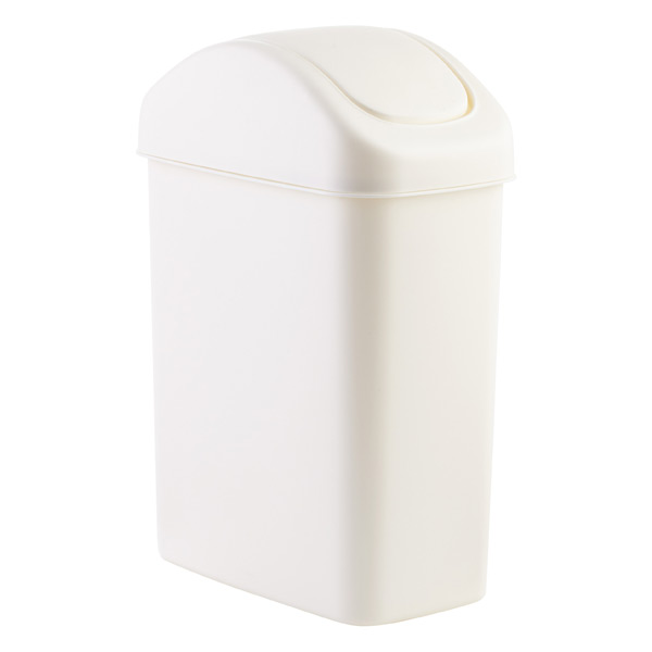 White Swing Lid Trash Can