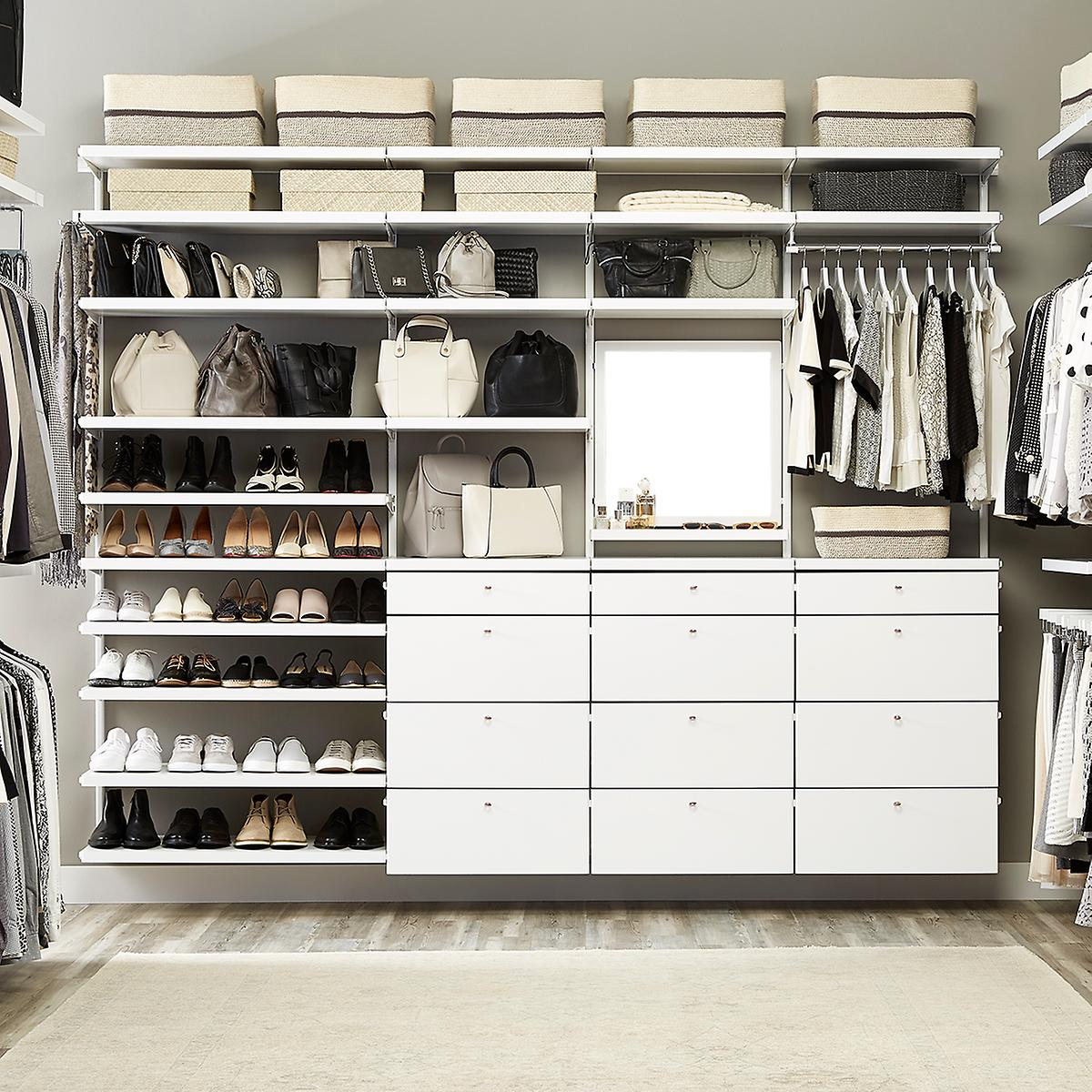 White elfa d cor his hers walk in closet the container for His and hers closet