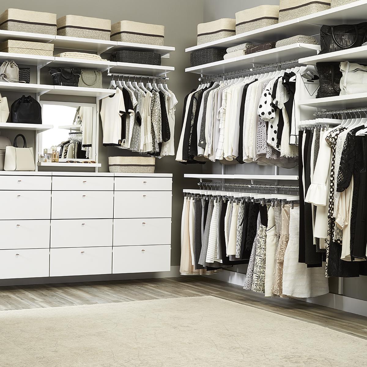 White Elfa Décor His U0026 Hers Walk In Closet