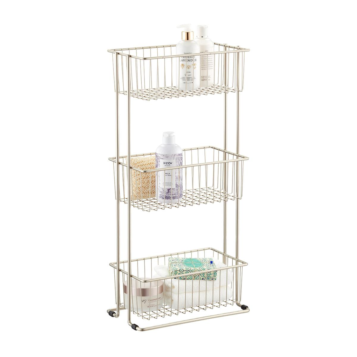 Satin Nickel 3-Tier Shelf Basket Tower | The Container Store