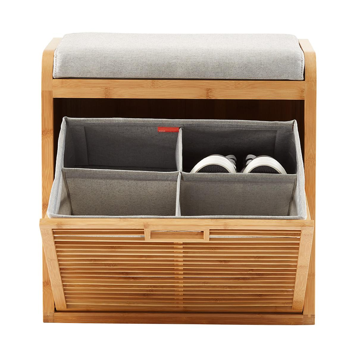 Lotus Bamboo Storage Bench The Container Store