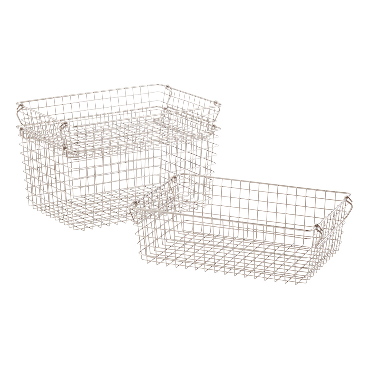 White Wire Baskets With Handles Data Schema Led Battery Monitor Circuit Today39s Circuits Stackable Storage The Container Store Rh Containerstore Com Decorative