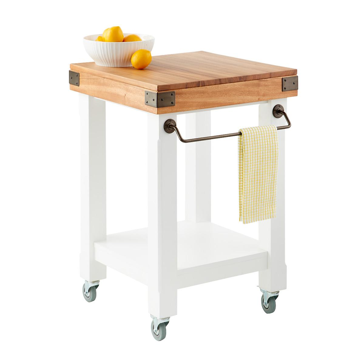 Butcher Block Rolling Kitchen Island Cart The Container Store