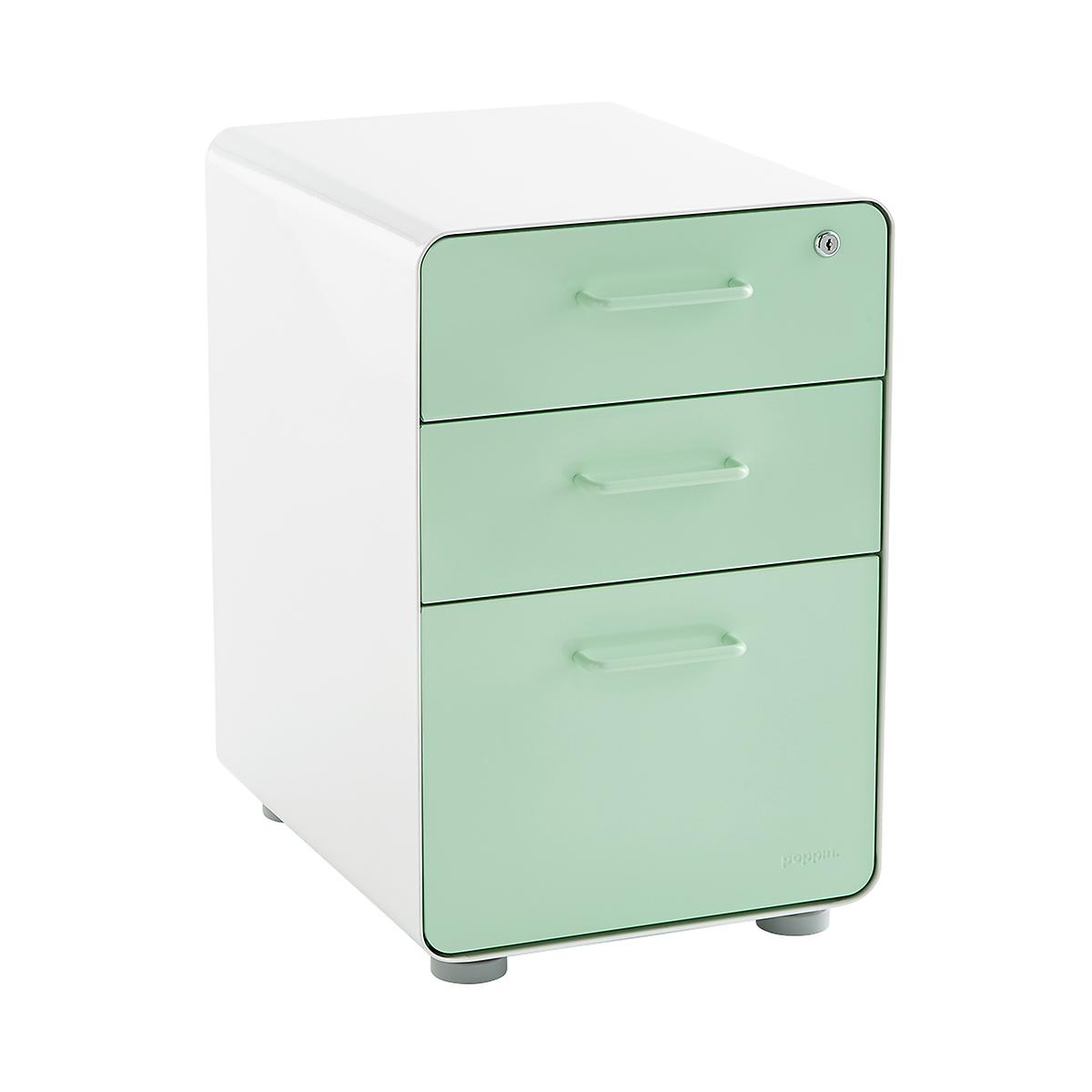 Poppin Mint 3 Drawer Locking Stow Filing Cabinet The