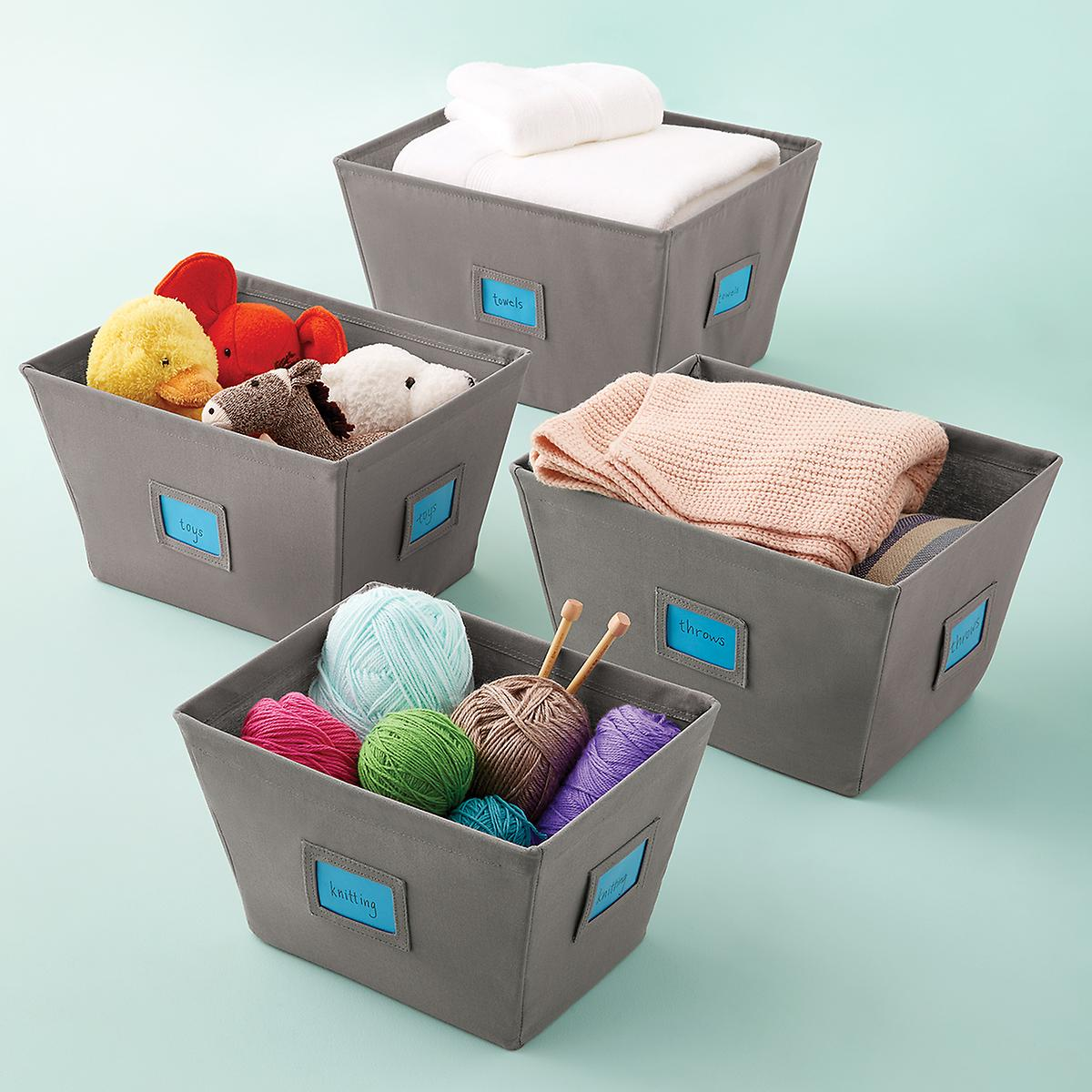 Grey Open Canvas Storage Bins With Labels