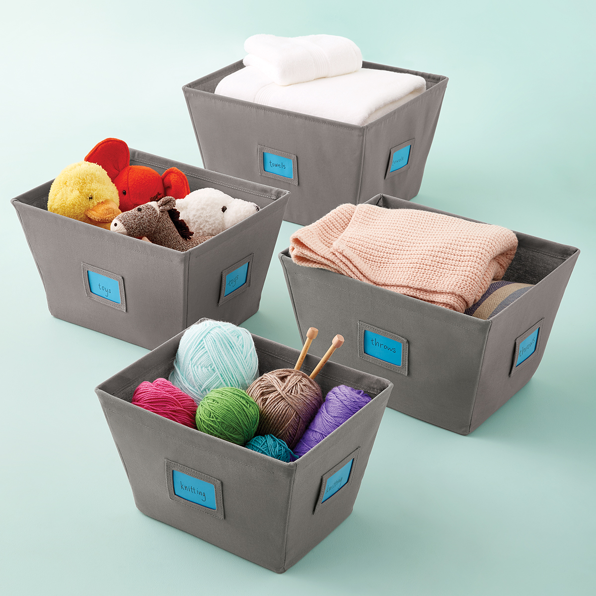 Grey Open Canvas Storage Bins with Labels ... & Grey Open Canvas Storage Bins with Labels | The Container Store