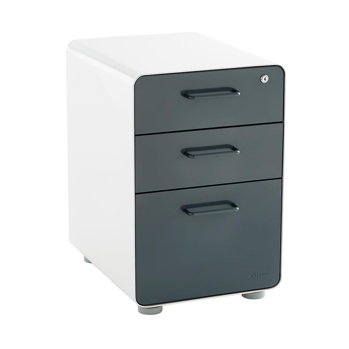 Filing Cabinets Locks dark grey poppin 3-drawer locking stow filing cabinet | the