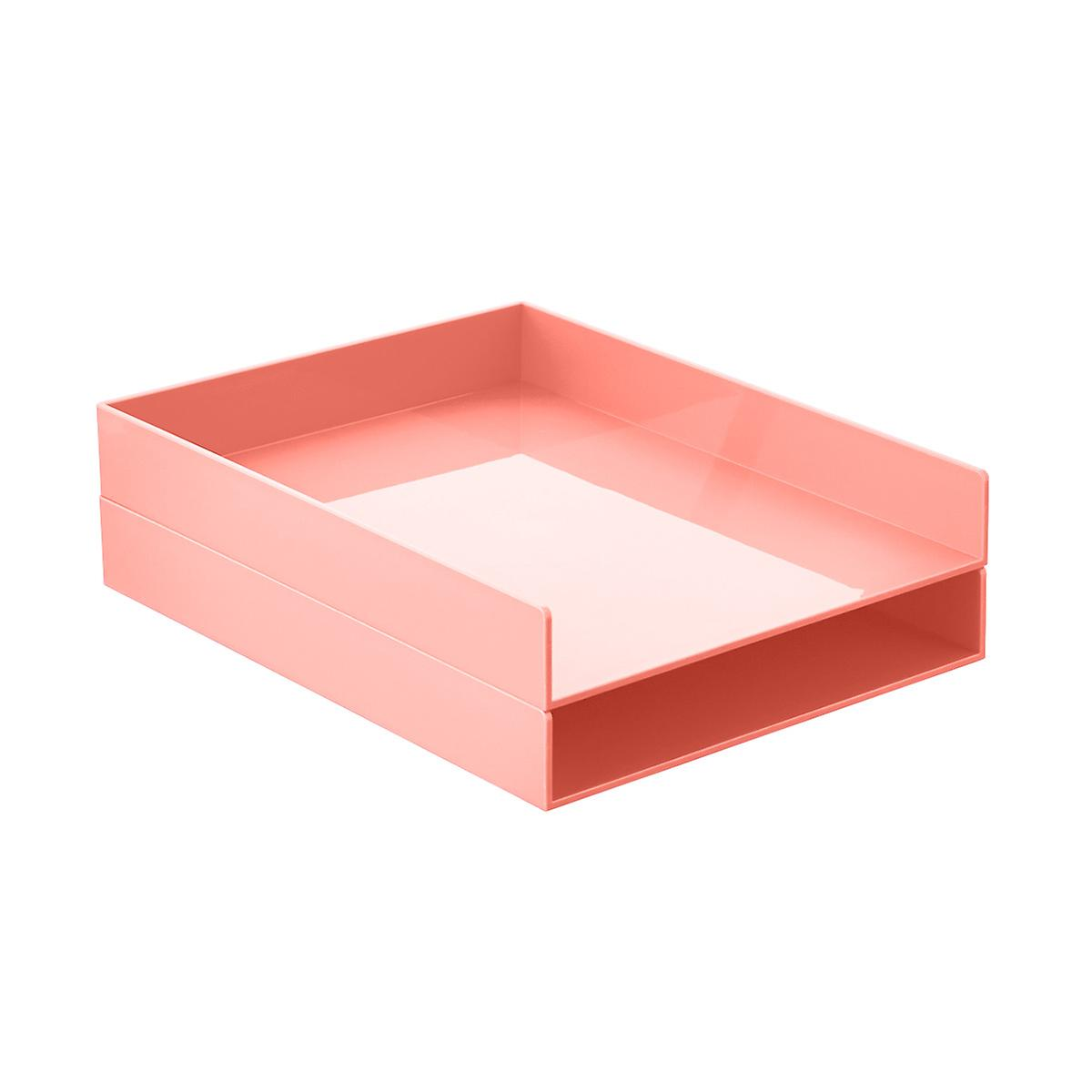 Blush Poppin Stackable Letter Tray | The Container Store