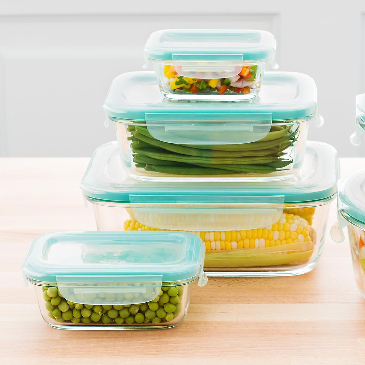 OXO Good Grips 8-Piece Smart Seal Rectangular Glass Food Storage Set