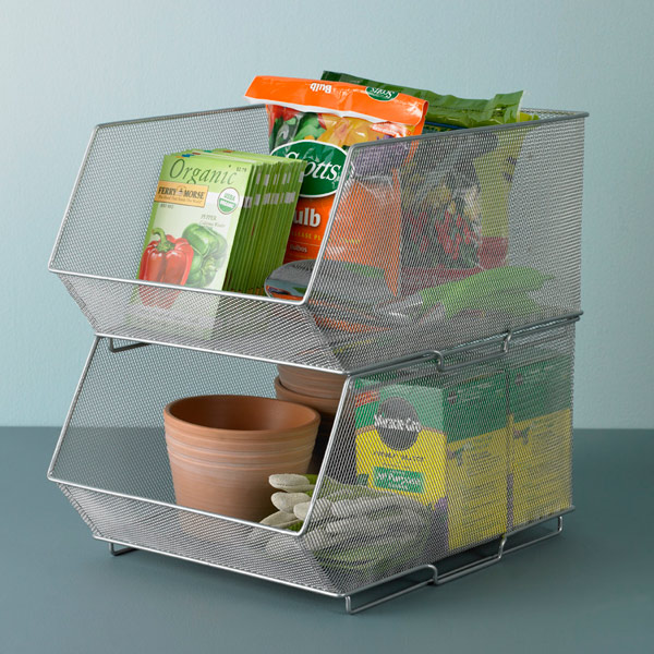 Lovely Silver Mesh Stackable Storage Bins