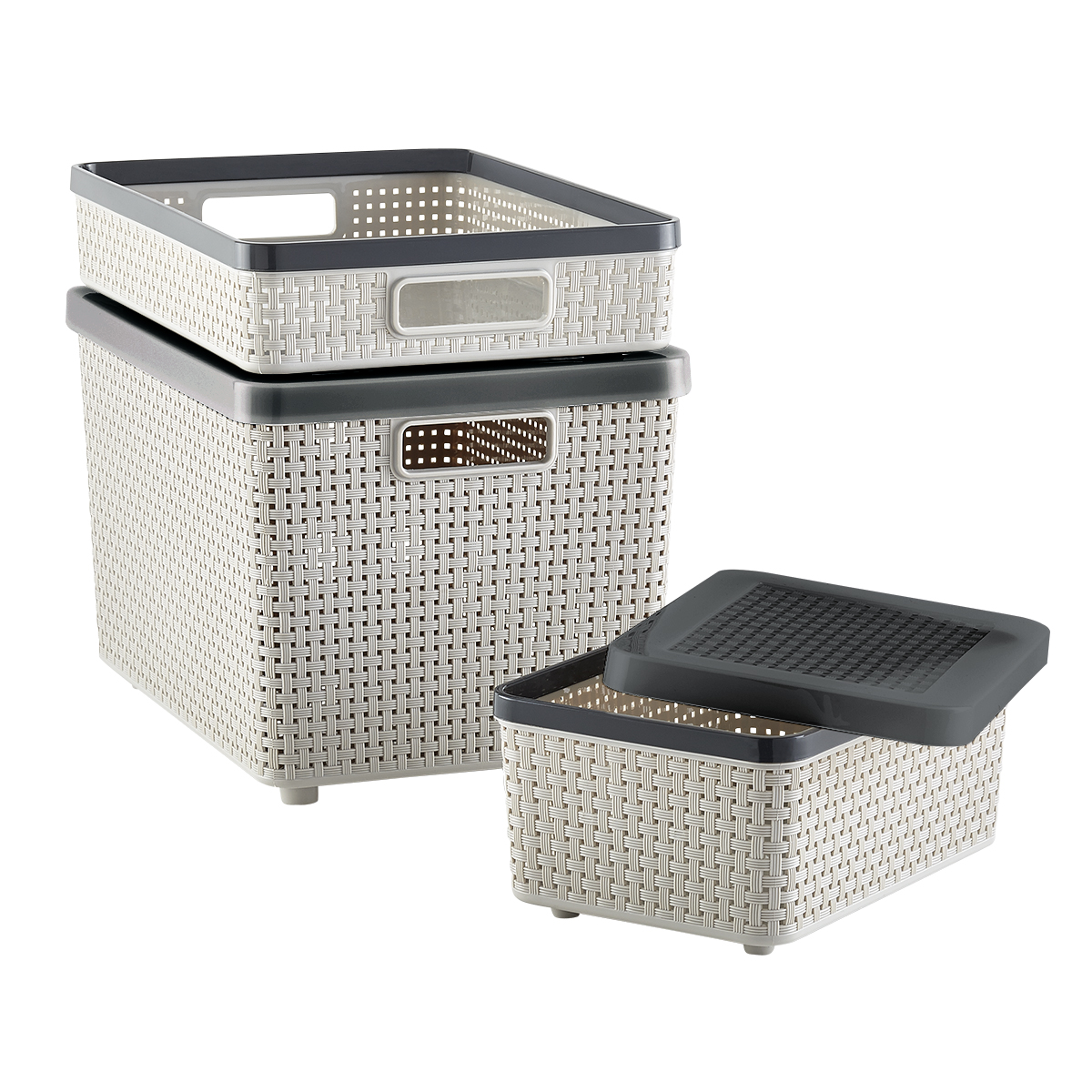 Charmant Grey Cottage Woven Storage Bins