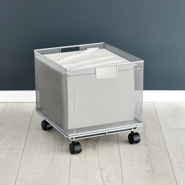 file cart with wheels silver mesh stackable file crate the container 15382