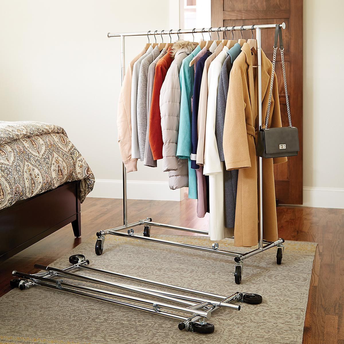 Clothes Rack   Chrome Metal Folding Commercial Clothes Rack | The
