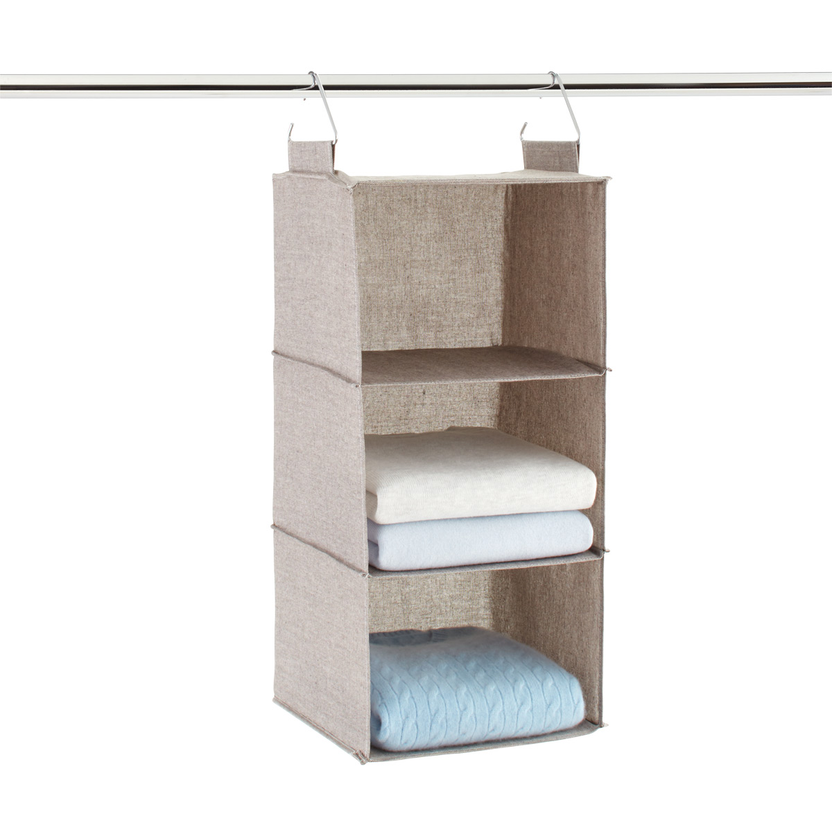 Grey 3 Compartment Hanging Sweater Organizer