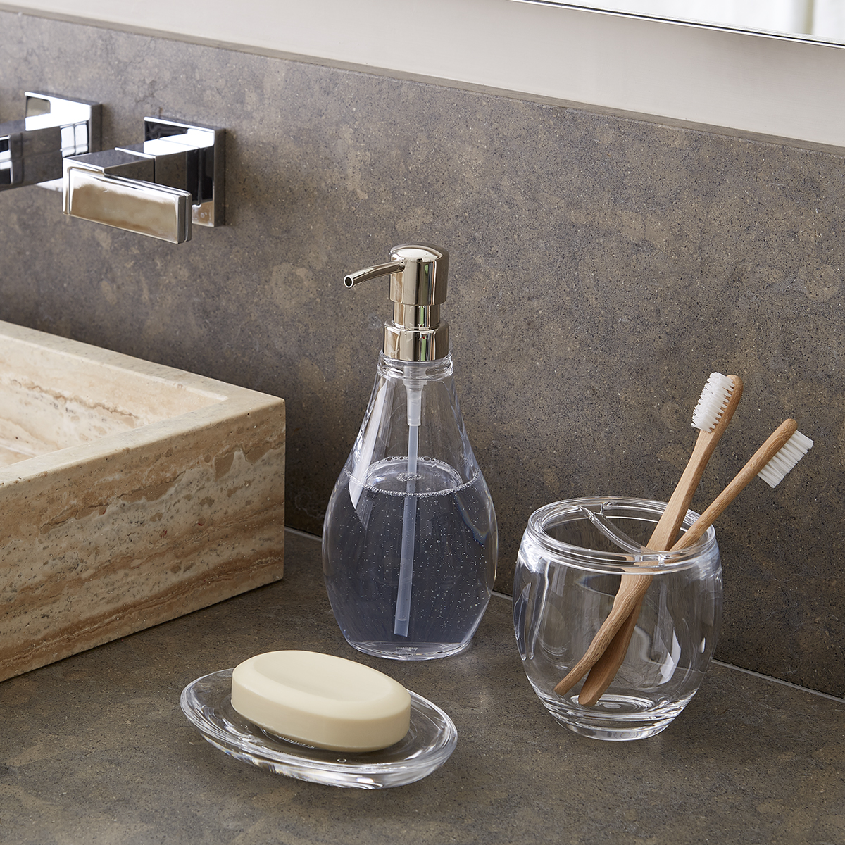 Bathroom accessories Red Clear Bathroom Accessories Sets The Container Store Umbra Droplet Acrylic Countertop Bathroom Set The Container Store